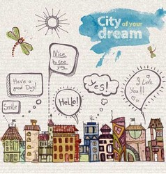 decorative sketch city vector image