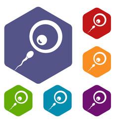 Donor sperm icons set hexagon vector