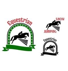 Equestrian sport symbols with jumping horses vector