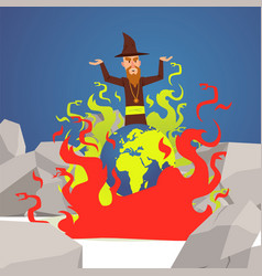Evil wizard cast spell on earth planet burns in vector