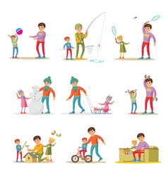 Fatherhood elements set vector