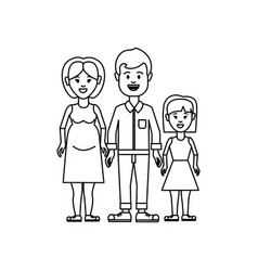 Figure couple with their daughter icon vector