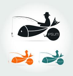Fishing logo design template vector