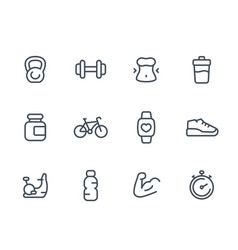fitness icons linear vector image