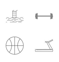 Fitness simple linear outline icon set vector