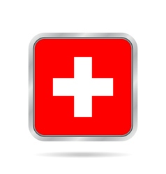 Flag of Switzerland Metallic gray square button vector
