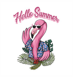 flamingo hello summer vector image