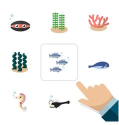 Flat icon nature set seaweed alga tuna and vector