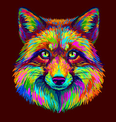fox abstract colorful neon portrait a fox vector image