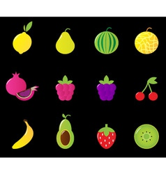fresh fruit berries icon set vector image