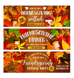Friendsgiving holiday banners with food vector