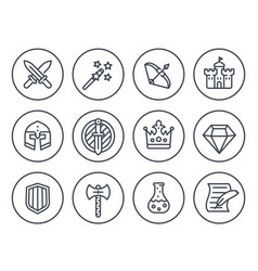 Game line icons on white rpg fantasy swords vector