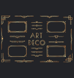 Golden art deco elements ornamental frame retro vector