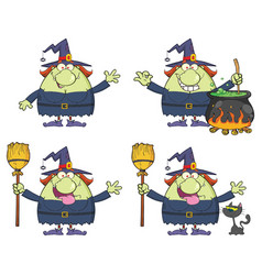 halloween witch cartoon character collection - 2 vector image
