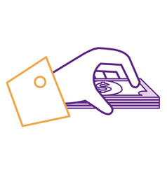 Hand human with bills money isolated icon vector