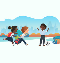 Happy children playing together in schoolyard vector