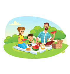 happy family on a picnic dad mom son are vector image
