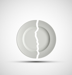 image of a broken white plate vector image vector image