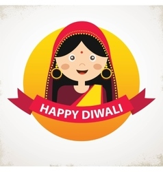 Indian Girl Celebrating Deepavali Happy vector