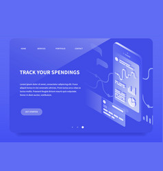 isometric banking app landing page vector image