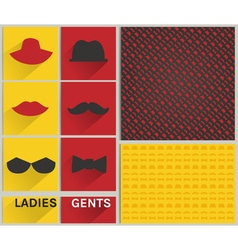 Ladies and gents pattern hipster set vector