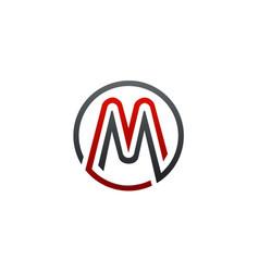 letter m circular logo design concept template vector image