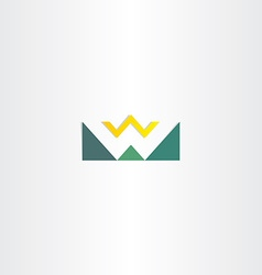 letter w mountain and sun green logo element vector image