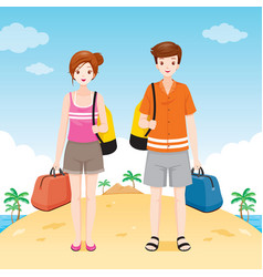 Male and female traveller with bag vector