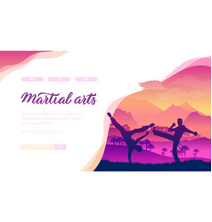 martial arts landing page template vector image