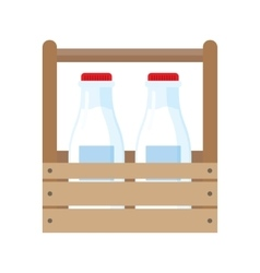 Milk bottles in wooden box vector image