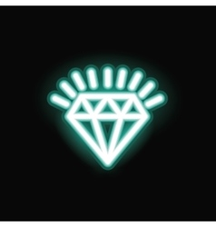 Neon diamond silhouette icon vector image