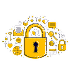 padlock lock surrounded different icons set vector image