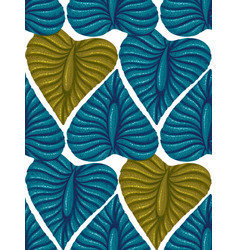 Pattern with vintage exotic tropical leaves vector