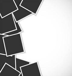 Pile of photo frames on white background vector image