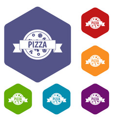 pizza label with ribbon icons set hexagon vector image