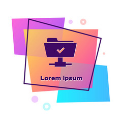 Purple ftp operation successful icon isolated on vector