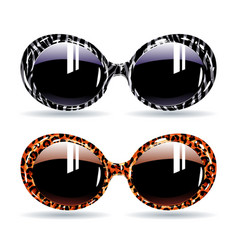 retro sunglasses with animal zebra print and vector image
