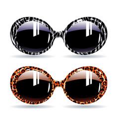 Retro sunglasses with animal zebra print vector