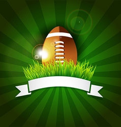 Rugby football American ball in grass with banner vector