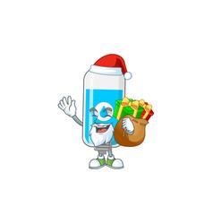Santa wall hand sanitizer with sacks gifts vector