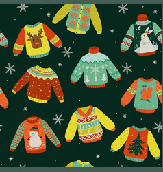 seamless pattern with winter sweaters graphics vector image