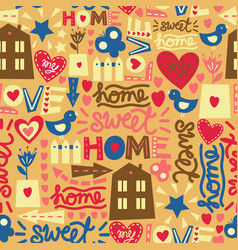 seamless pattern with words hearts and vector image
