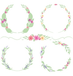Set flower frames and border vector