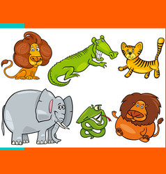 set of cartoon funny animal characters vector image