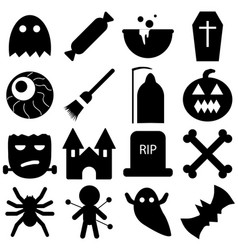 set of halloween objects pumpkins and lettering vector image