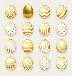 set of ornate golden realistic eggs on light vector image