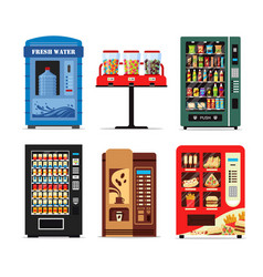 set vending machines full of products dispensers vector image