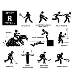 Sport games alphabet r icons pictograph real vector