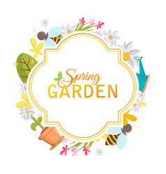 Spring garden design frame vector