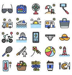 summer vacation related icon set 4 filled style vector image